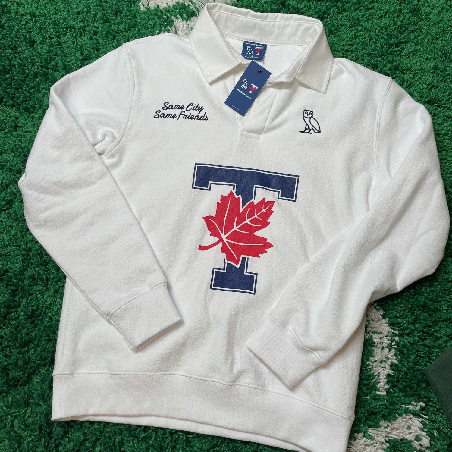 Ovo x UofT Rugby Polo Shirt White Size Small