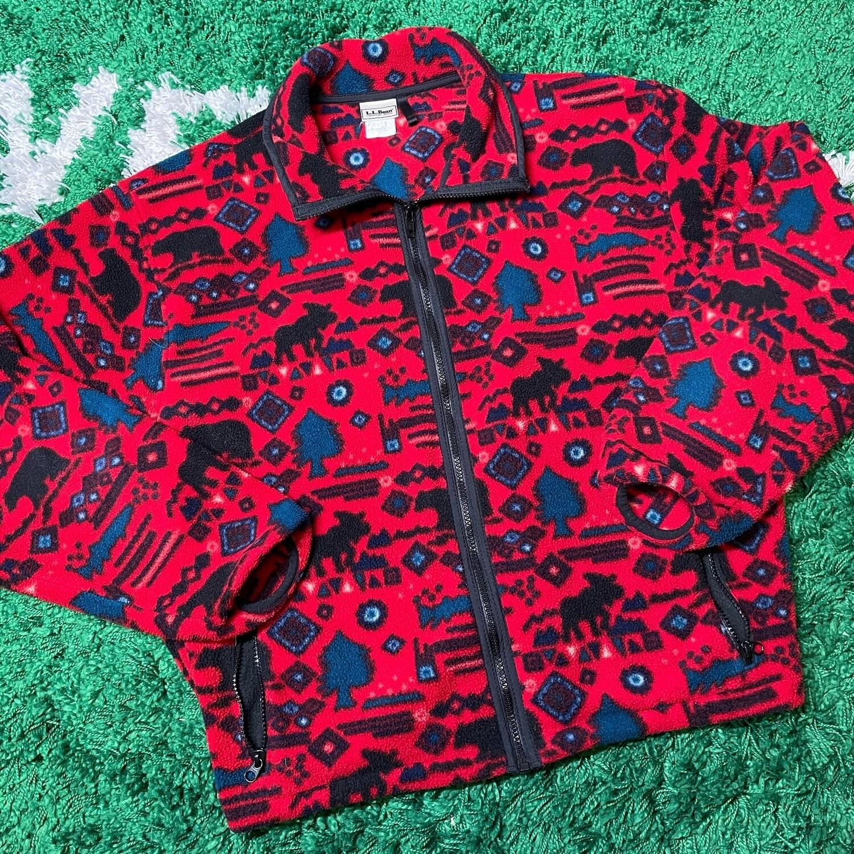 L.L. Bean Red Wilderness Pattern Fleece Size Medium