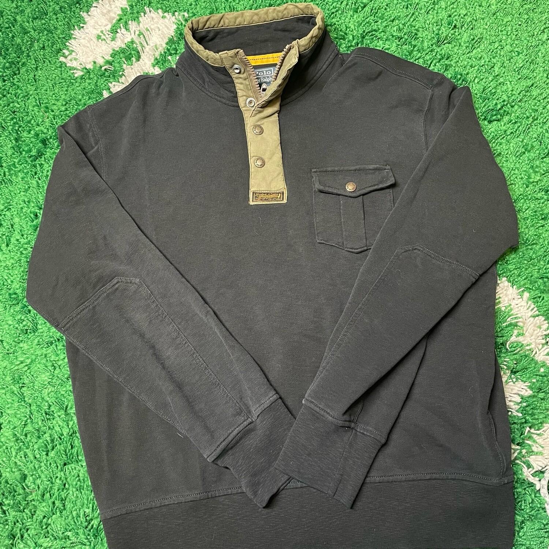 Polo Ralph Lauren 3 Quarter Zip/Button Black Size XL