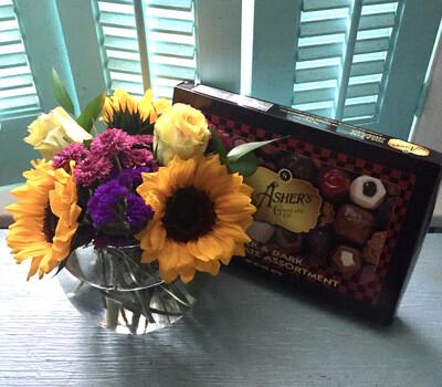 $48 Vase Arrangement (includes chocolates)