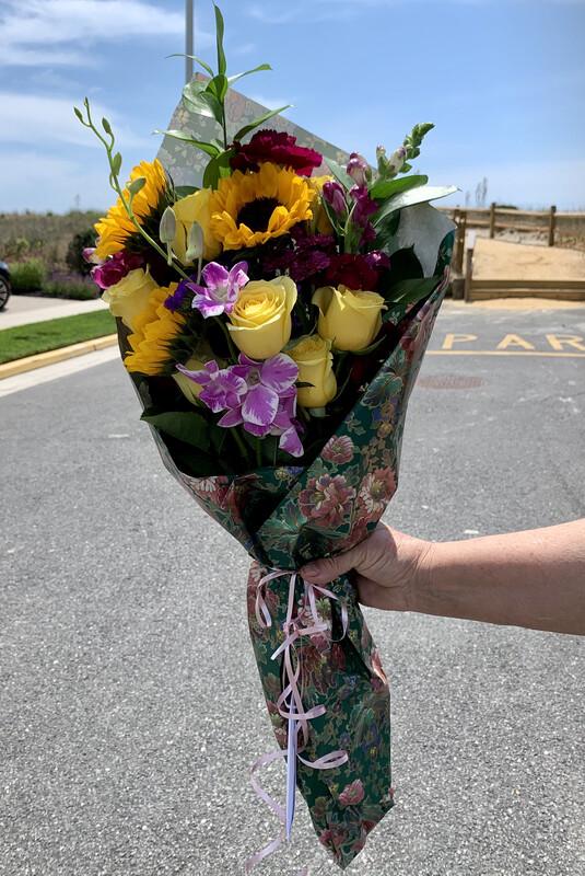 $65 Seasonal Wrapped Fresh Flower Bouquet (no vase)