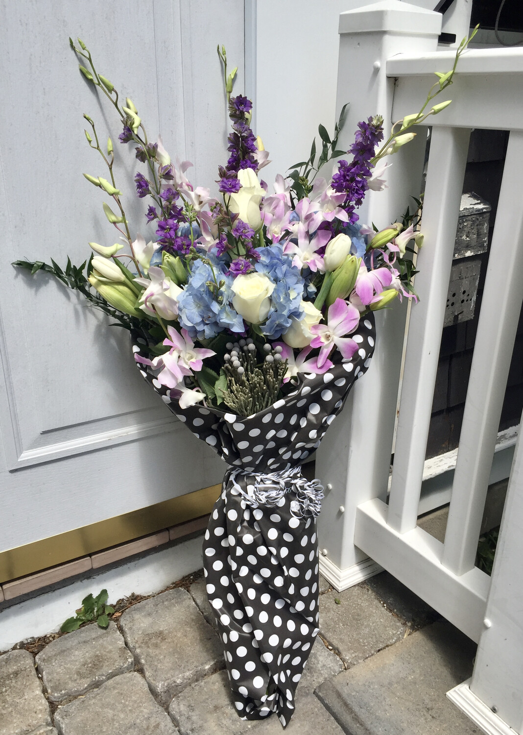 $85 Seasonal Wrapped Fresh Flower Bouquet (no vase)