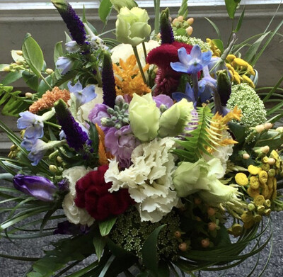$175 Seasonal Wrapped Fresh Flower Bouquet (no vase)