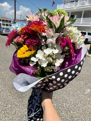$75 Seasonal Wrapped Fresh Flower Bouquet (no vase)