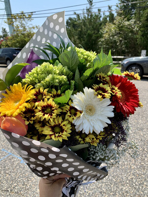 $50 Seasonal Wrapped Fresh Flower Bouquet (no vase)