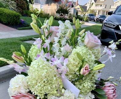 $250 Seasonal Wrapped Fresh Flower Bouquet (no vase)