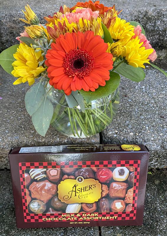 $48 Small Seasonal Fresh Flower Vase Arrangement (includes Chocolates)