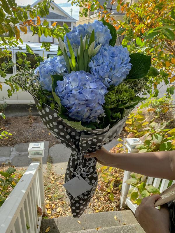 $80 Seasonal Wrapped Fresh Flower Bouquet (no vase)
