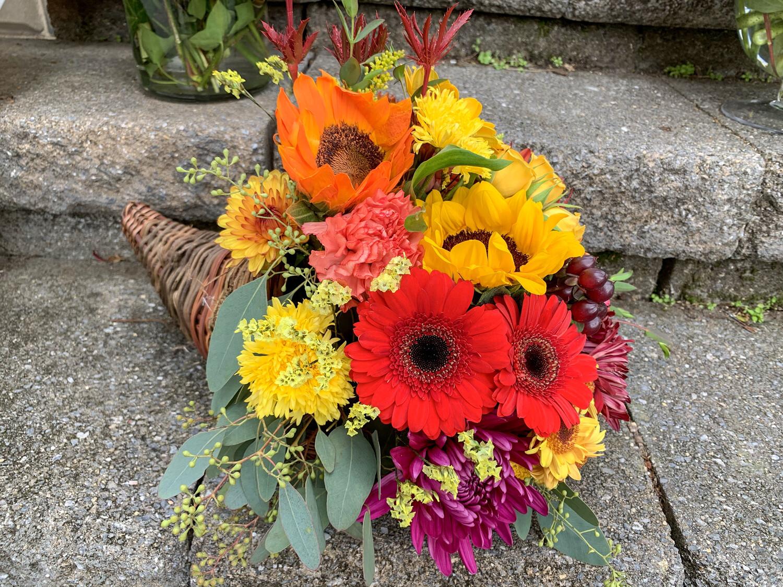 Thanksgiving Cornucopia Fresh Flower Centerpiece Arrangement - 3 Sizes