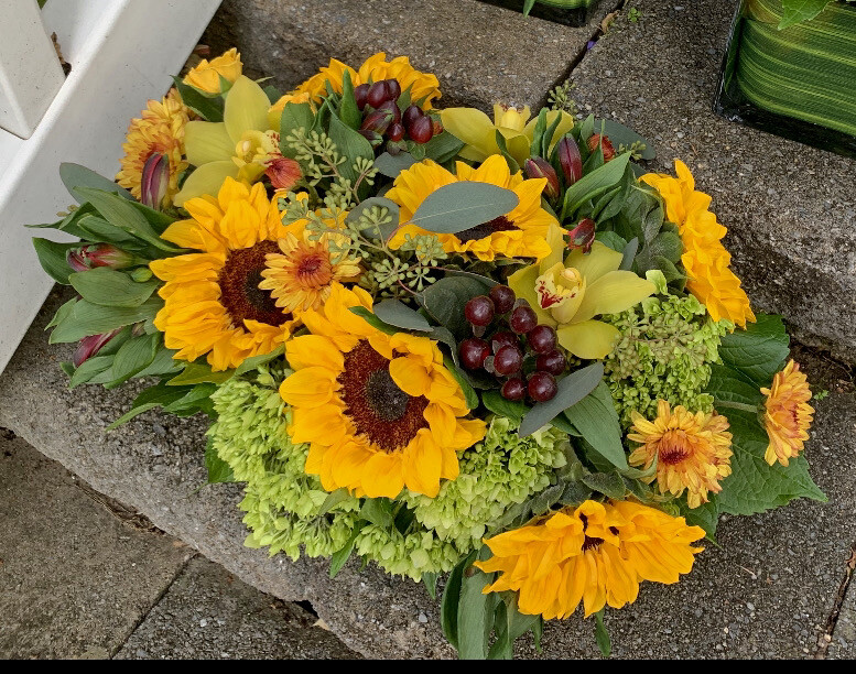 $125 Long and Low Fresh Flower Thanksgiving Centerpiece Arrangement