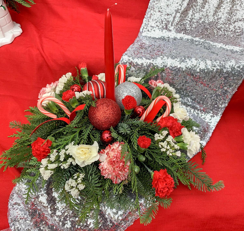 $65 Christmas Fresh Flower Centerpiece Arrangement with Single Candle
