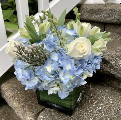 $75  Winter Holiday Blue, Silver, and White Fresh Flower Centerpiece Arrangement