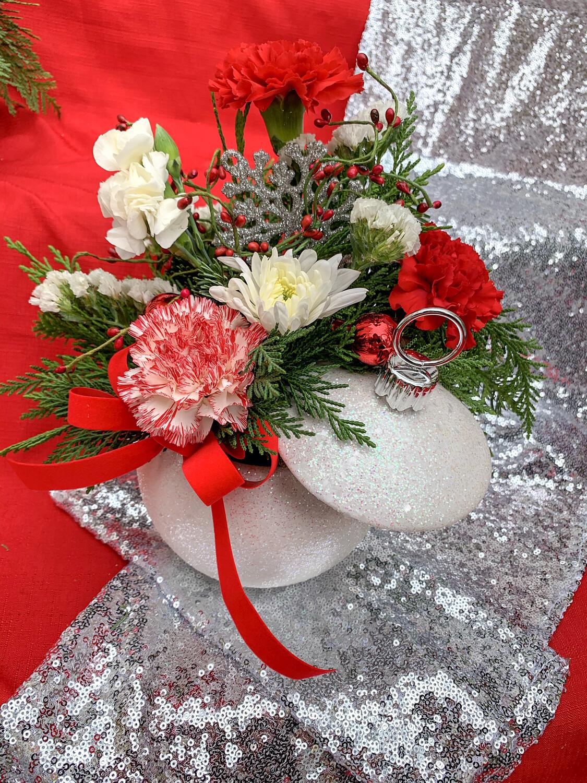 $48 Silver Ceramic Glitter Ball - One-Sided Christmas Fresh Flower Arrangement