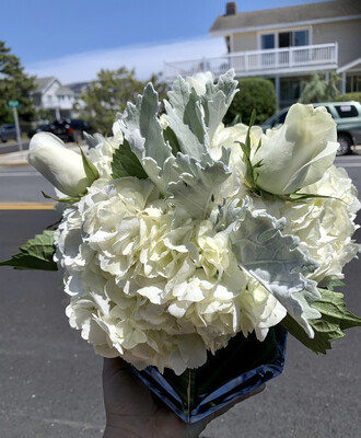 $50 Winter Holiday Small Silver and White Fresh Flower Centerpiece Arrangement