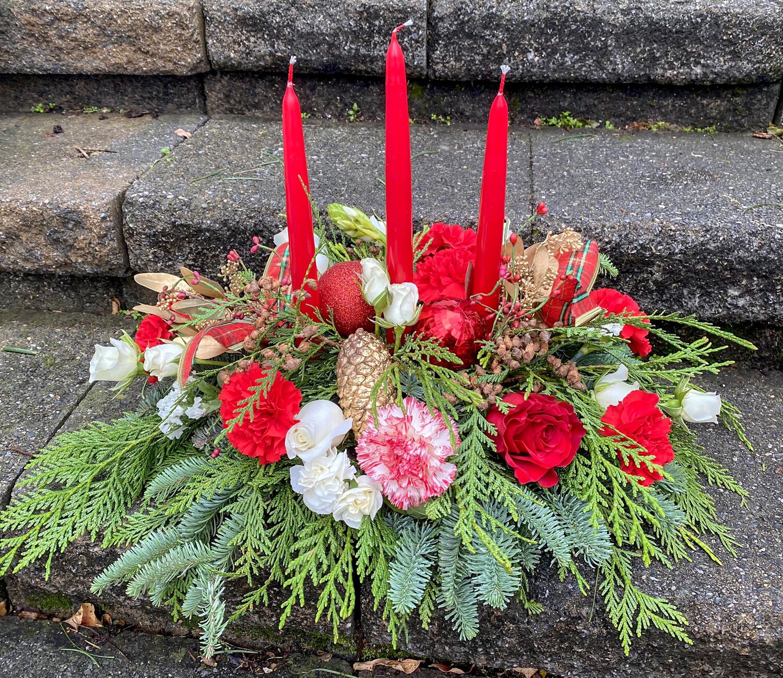 $75 Three Candle Christmas Fresh Flower Centerpiece Arrangement