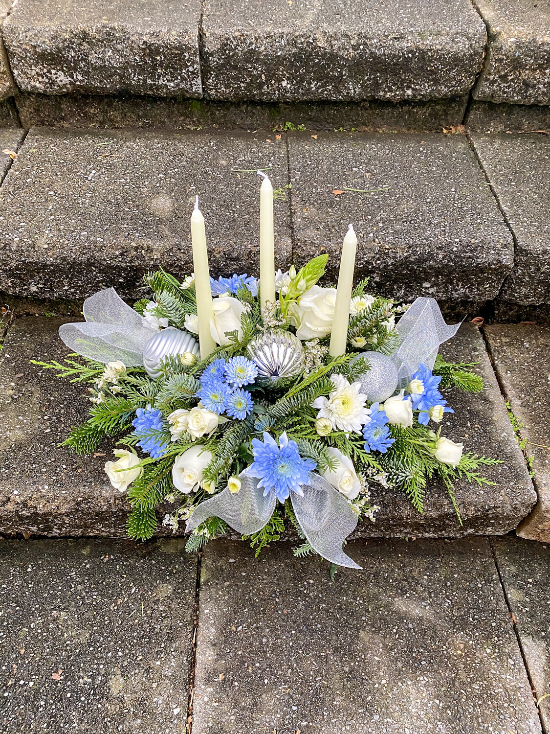 $125 Winter Holiday Three Candle Blue, White, and Silver Fresh Flower Centerpiece Arrangement