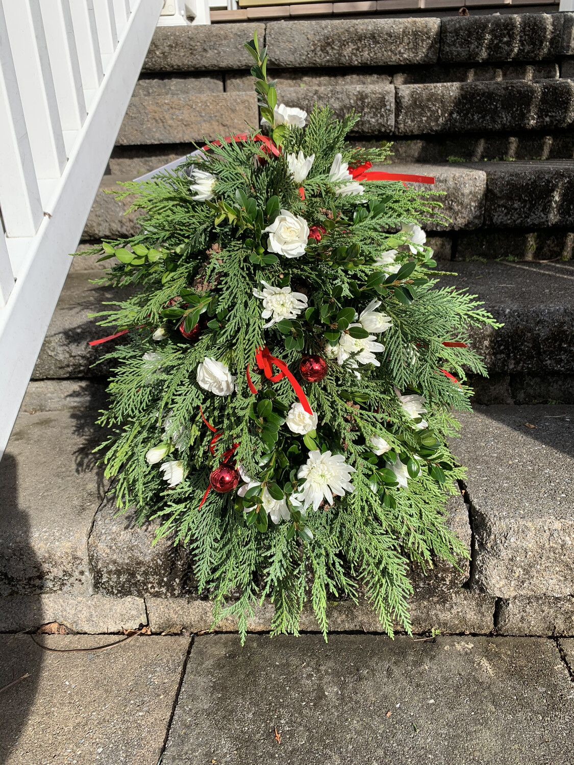 $175 Boxwood and Evergreen Mini Fresh Flower Christmas Tree Centerpiece Arrangement (Approx. 16 to 18 Inches High)