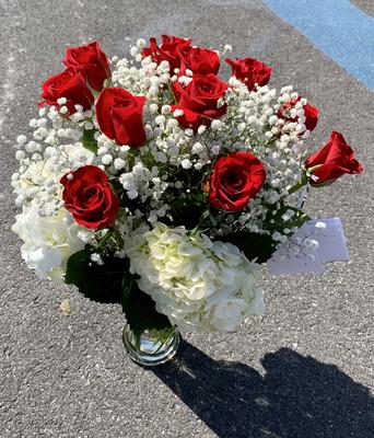 Valentine's Day Roses in a Vase - 1, 2, 3, 4, or 5 Dozen