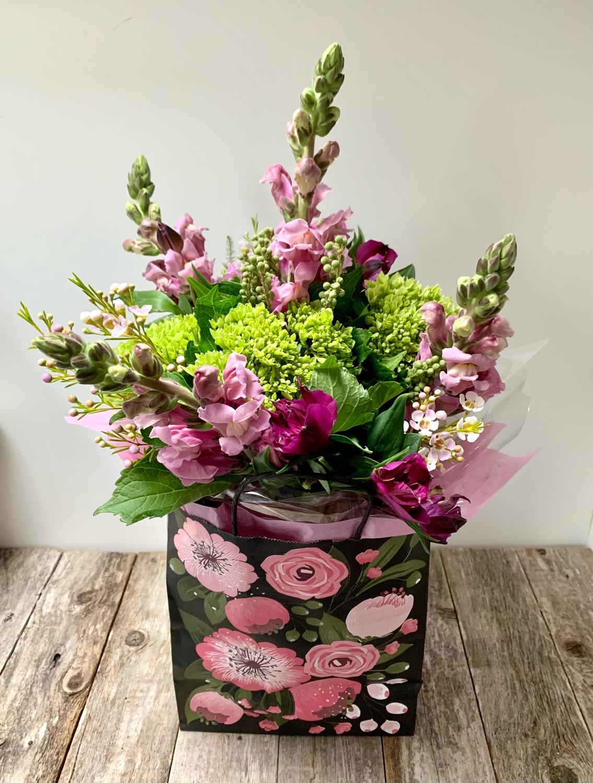 $50 Seasonal Fresh Flower English Hand Tied Bouquet  in Gift Bag (no vase)