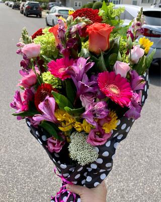$95 Seasonal Wrapped Fresh Flower Bouquet (no vase)