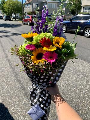 $70 Seasonal Wrapped Fresh Flower Bouquet (no vase)