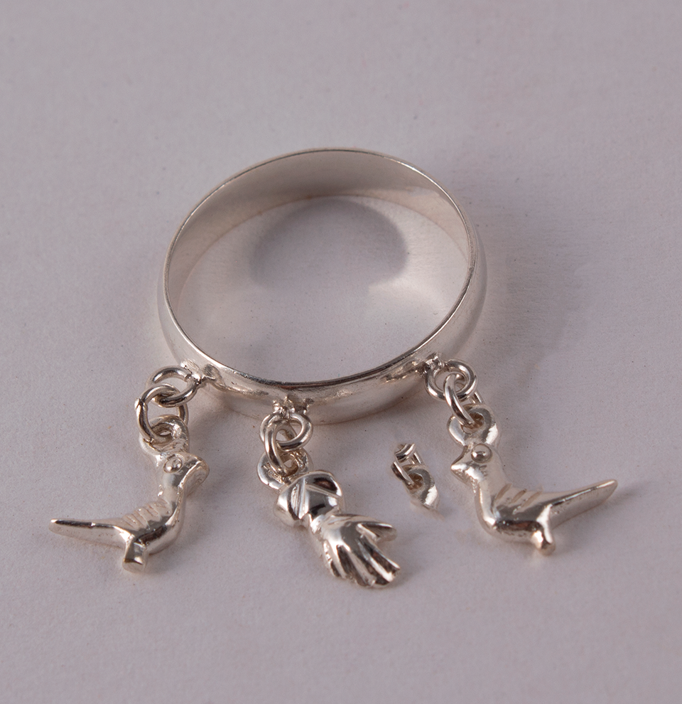 Silver Ring Pigeons & Hand