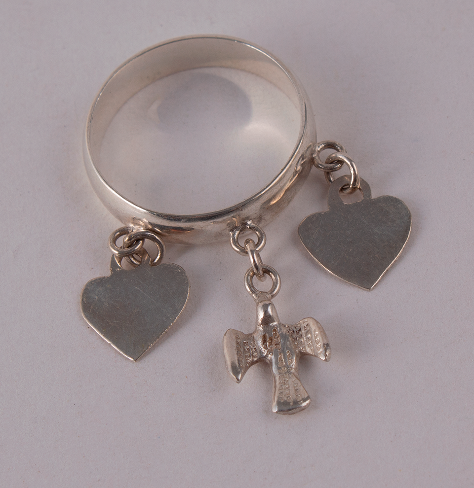 Silver Ring Hearts & Pigeon