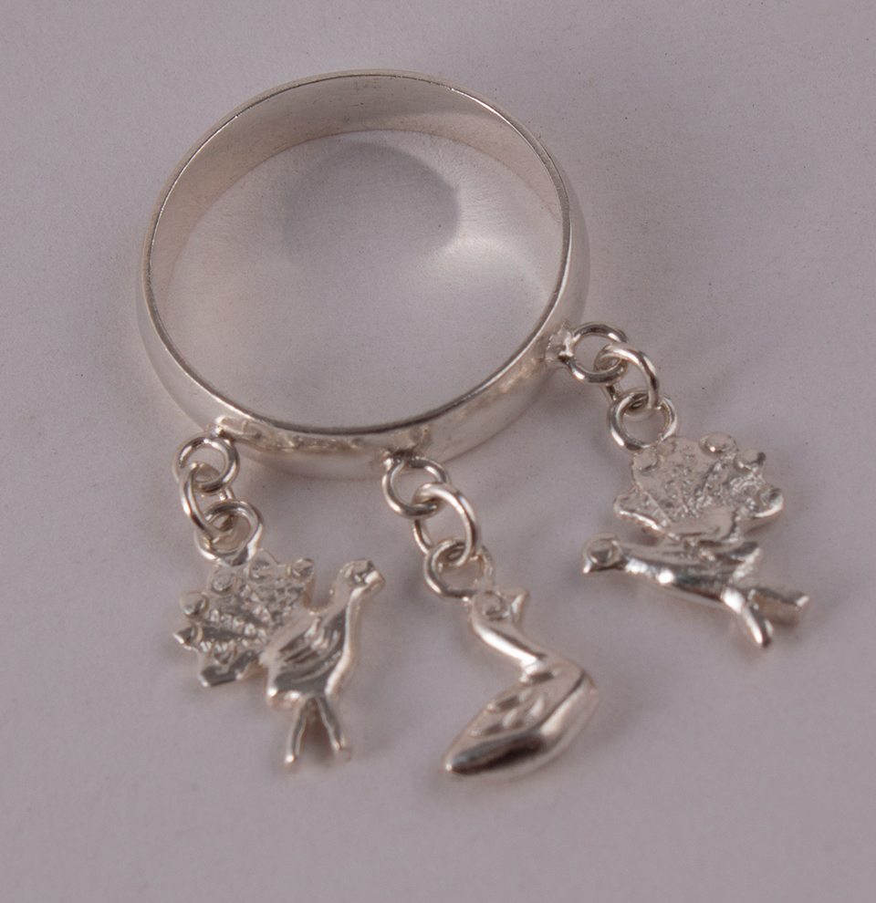 Silver Ring Hearts & Goose