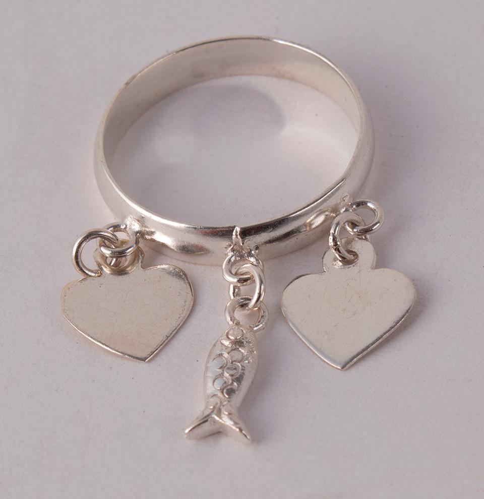 Silver Ring Hearts & Fish