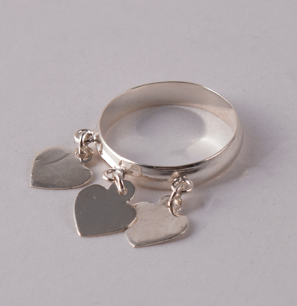 Silver Ring Hearts