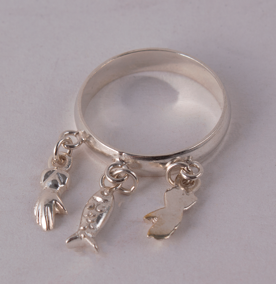 Silver Ring Hands & Fish