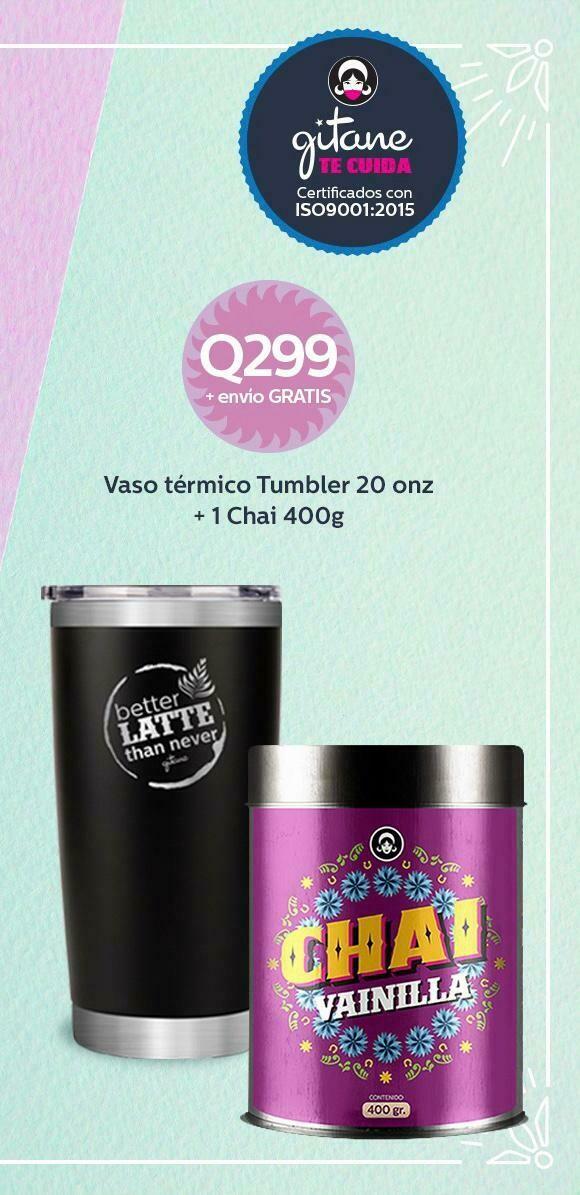 Vaso térmico Tumblr  Waterbear® 20 onz + Te chai 400 g
