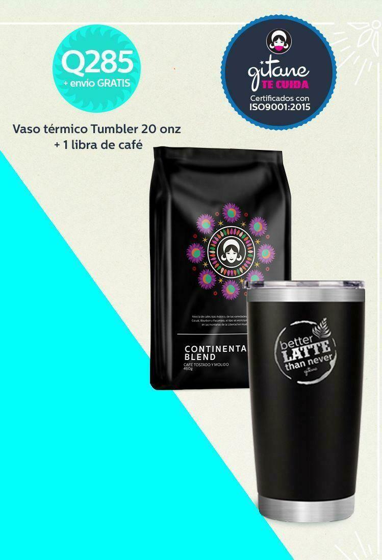 Vaso térmico Tumblr  Waterbear® 20 onz + Libra de café Continental