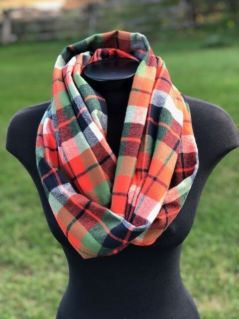 Adventure Plaid Infinity Scarf with Hidden Pocket! (Flannel)