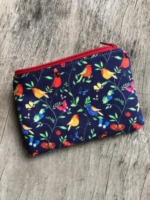 Colourful Birds on Blue Zip Pouch 100% Cotton