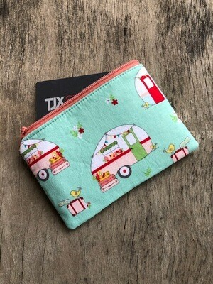 Vintage Campers on Mint Green  Zip Pouch 100% Cotton