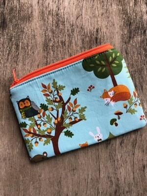 Foxes & Raccons on Blue  Zip Pouch 100% Cotton