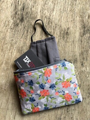 Floral Water colour on Grey  Pouch 100% Cotton