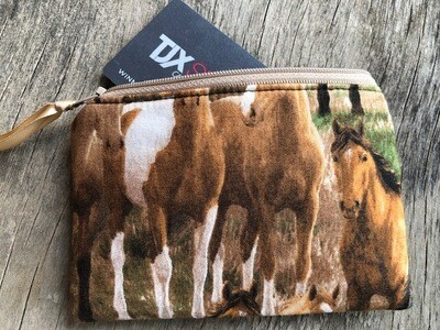 Running Horses Zip Pouch 100% Cotton