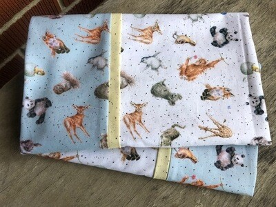 Baby Animals on White with Blue Accent Pillowcase Set