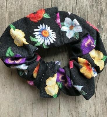 Hair Scrunchies    Butterflies & Flowers on Black