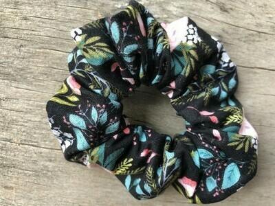 Hair Scrunchies   Black Floral