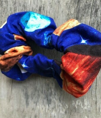Hair Scrunchies   Planets on Blue
