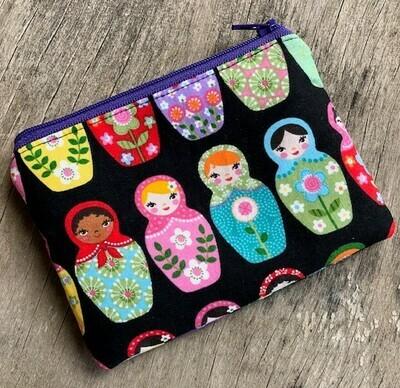 Babushka Dolls  Zip Pouch 100% Cotton