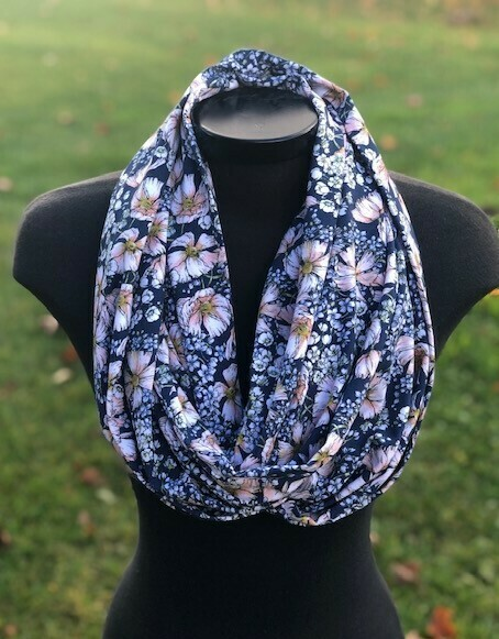 Infinity Scarf Blue Floral with Hidden Pocket (Knit)