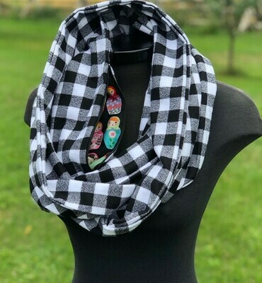 Small Check White & Black Plaid Infinity Scarf with Hidden Pocket (Flannel)