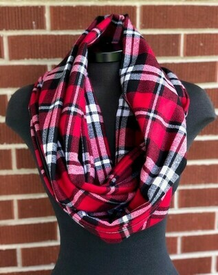 Red, Black & White Plaid Infinity Scarf with Hidden Pocket (Flannel)