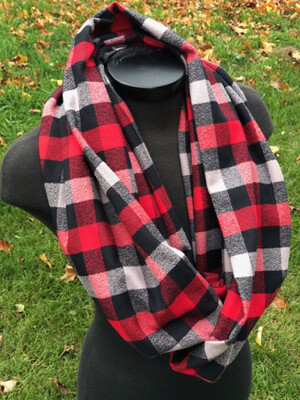 Red, Black & Grey Plaid Infinity Scarf with Hidden Pocket (Flannel)