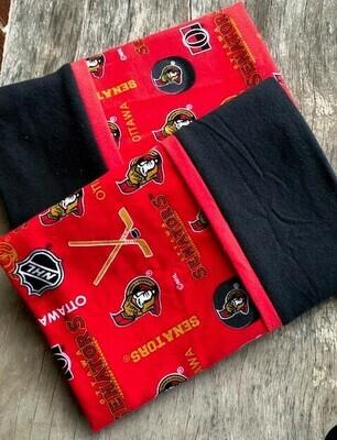 Ottawa Senators Flannel Pillowcase Set  (Black Cuff)