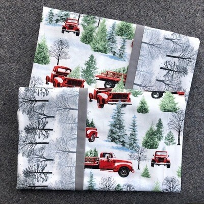Red Christmas Truck & Silver Trees  Pillowcase Set